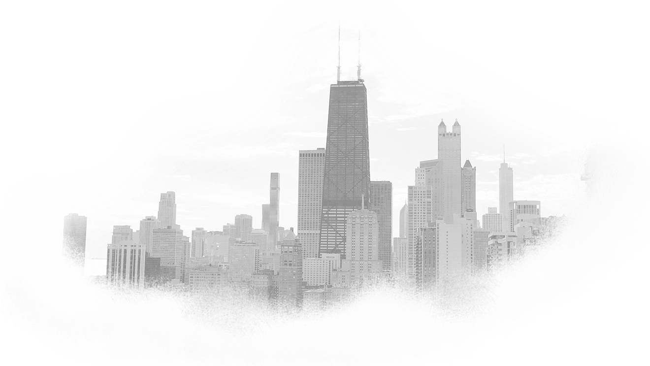A black and white graphic of the Chicago skyline as seen from Lake Shore Drive looking south.
