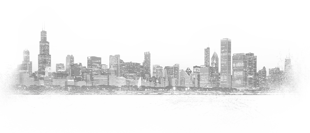 A black and white graphic of the Chicago skyline looking west from out on Lake Michigan.