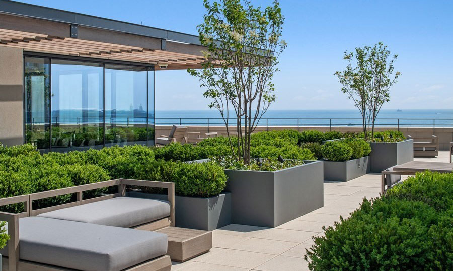Potted greenery and trees surround various patio furniture on the rooftop terrace at 61 Banks Street. Lake Michigan is seen in the background on a sunny day.